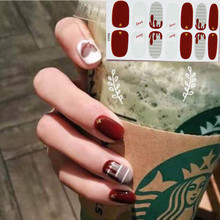 14 Tips Nail Art Full Cover Self Adhesive Stickers Polish Foil Transfer Tips Wraps 3D Waterproof