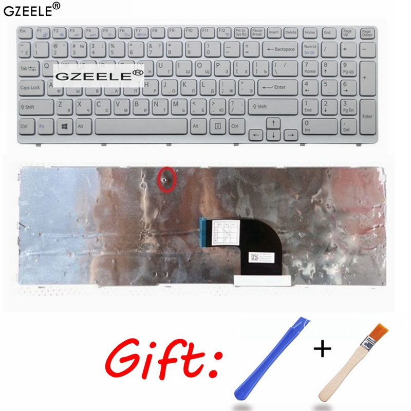 New For SONY VAIO E15 SVE 15 SVE15 149032851RU AEHK57002303A MP-11K73SU-920 Keyboard RU Russian White With Frame