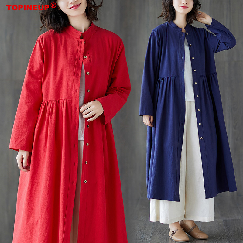 Cotton Linen Long Windbreaker Coat Women Long Sleeve Leisure Loose Standing Collar Elegant Solid Color Female   Trench   Coat