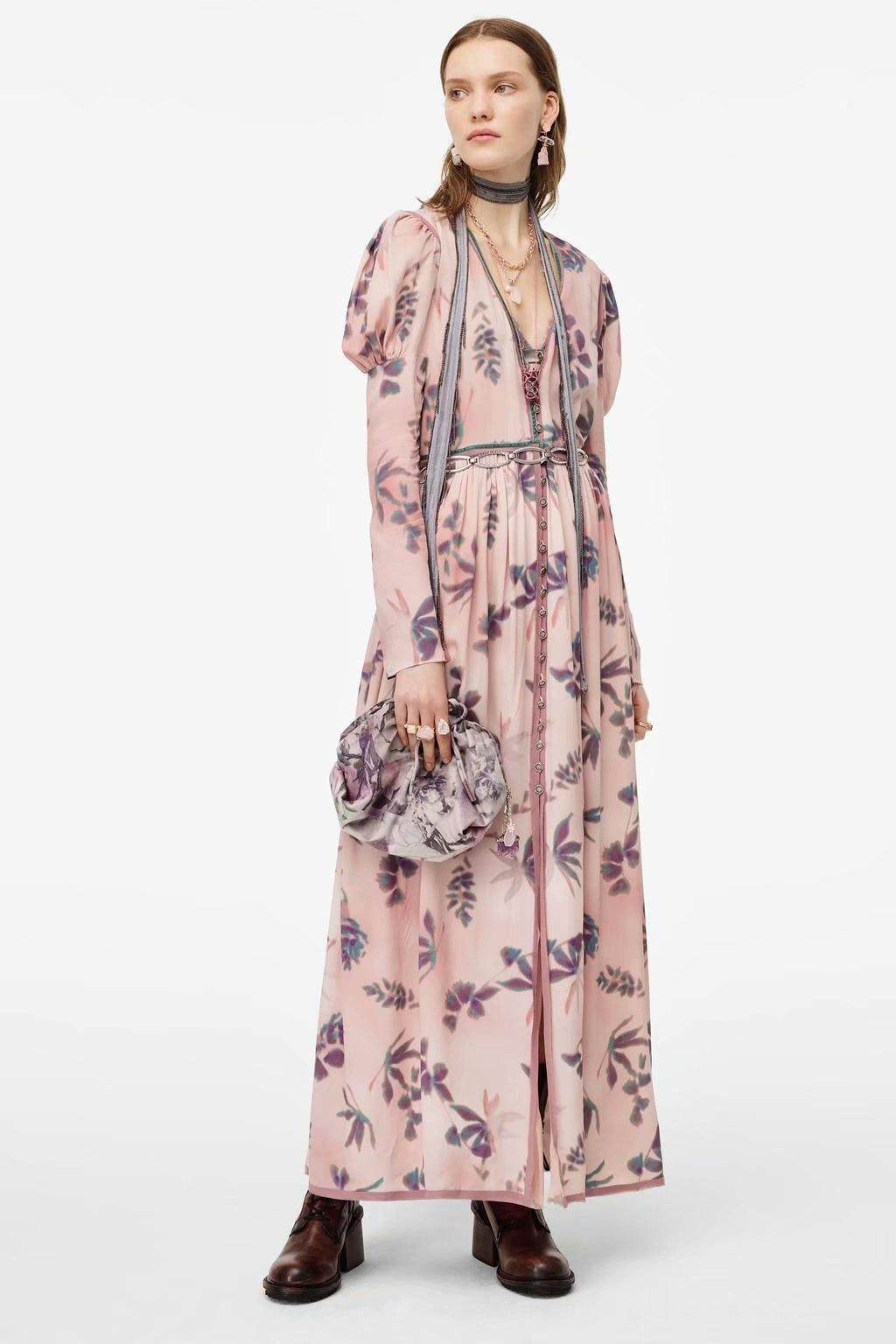 2020 Spring Summer New Grand Prix Print Pink Zaraing Women Dress Sheining Vadiming Female Dress Vintage Plus Size XDN9539