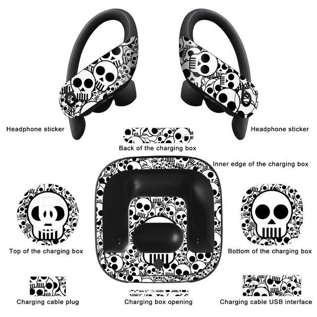 Ycsticker novo conjunto de filme personalizado adesivos anti risco para powerbeats pro fone de ouvido adesivo película protetora pele