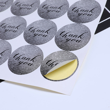 120pcs/Lot Cute Thank You Gray  Round Kraft Paper Adhesive Cake Packaging DIY Hand Made For Gift Sealing Sticker