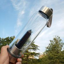Natural Quartz Obsidian Crystal Glass Elixir Water Bottle Po