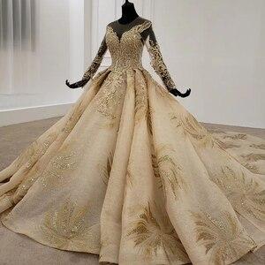 Image 3 - HTL1124 זהב תחרה חתונה שמלות נסיכה לחתוך o צוואר פאייטים ארוך שרוול שמלות כלה שמפניה vestido דה noiva מנגה longa