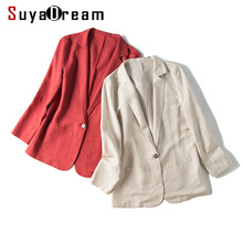 SuyaDream Women Silk Blazers 50%Silk 50%Linen Single Button Long sleeved Two Pockets Office Lady Solid Blazers 2019 New