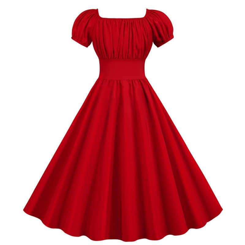여성 빈티지 드레스 로브 Femme 여름 퍼프 슬리브 스퀘어 칼라 솔리드 레드 컬러 우아한 파티 플러스 사이즈 캐주얼 오피스 미디 드레스