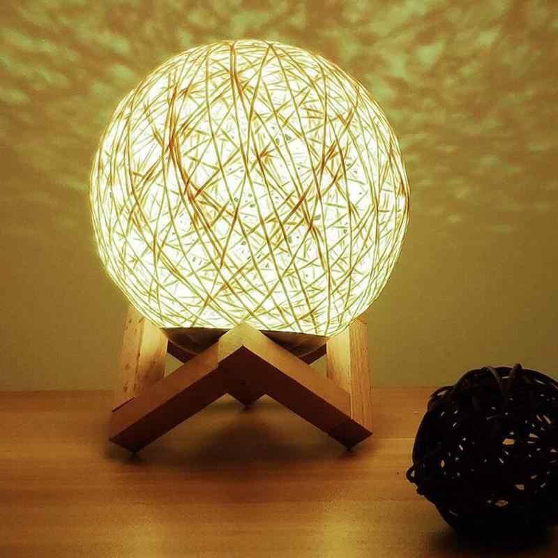 Bambu Rotan Bola Malam Lampu LED USB Anak Kamar Tidur Samping Tempat Tidur Lampu Meja Ornamen Dekoratif Pencahayaan dengan Braket