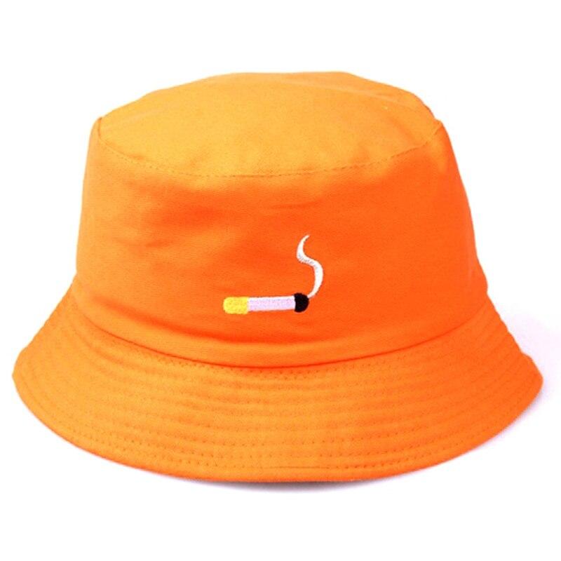 Cigarette Shape Embroidery Fisherman Hat For Men Women Bucket Hat Hip Hop Flat Hat Black Orange Color