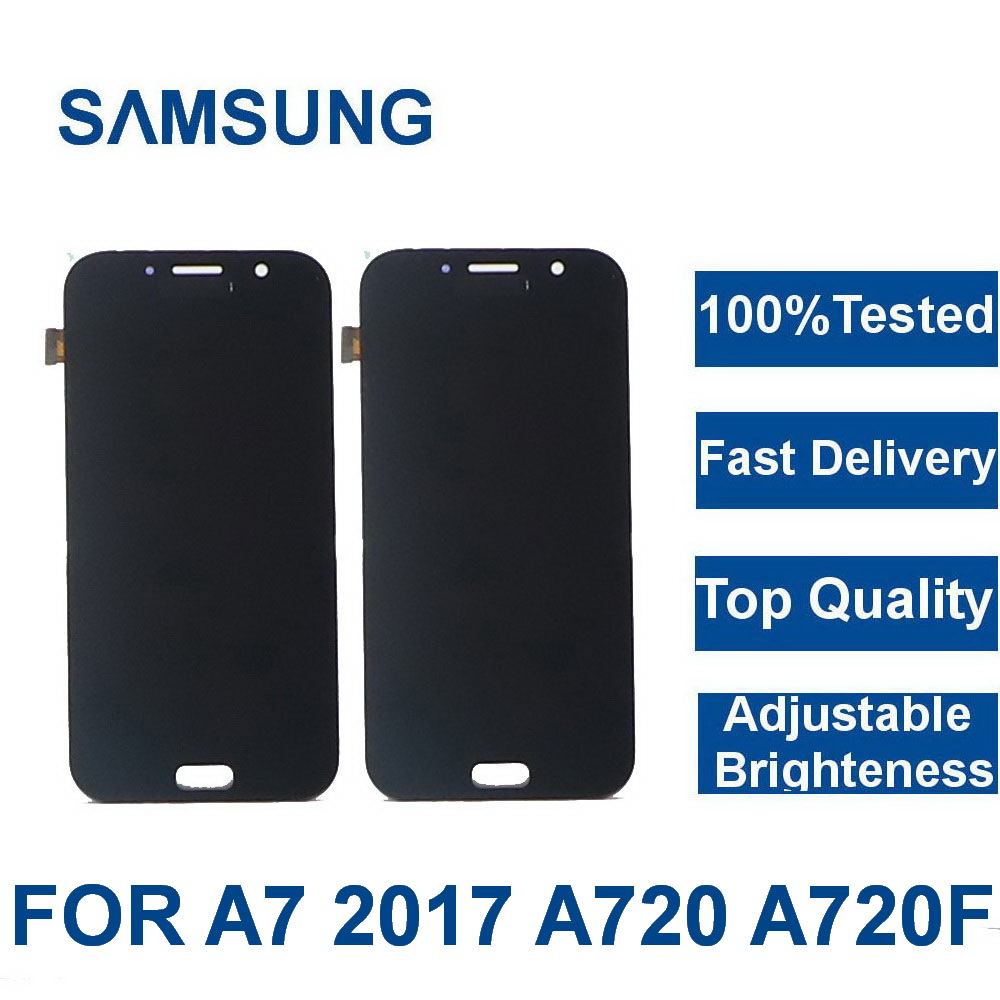 100%Tested For <font><b>Samsung</b></font> Galaxy A7 2017 <font><b>A720</b></font> A720F SM-A720F Phone <font><b>LCD</b></font> Display Touch Screen Digitizer Assembly + adjust brightness image
