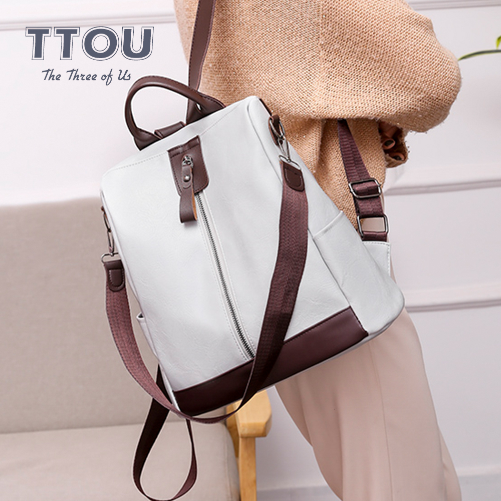 Retro Anti-theft PU Leather Shoulder Bag For School Students Casual Laptop Books Hold Many Pocket Backpacks Vintage Travel Bags