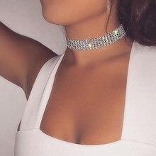 Collier ras du cou en cristal strass pour femmes, accessoires de mariage, chaîne couleur argent, Punk, gothique, bijoux, nouvelle collection