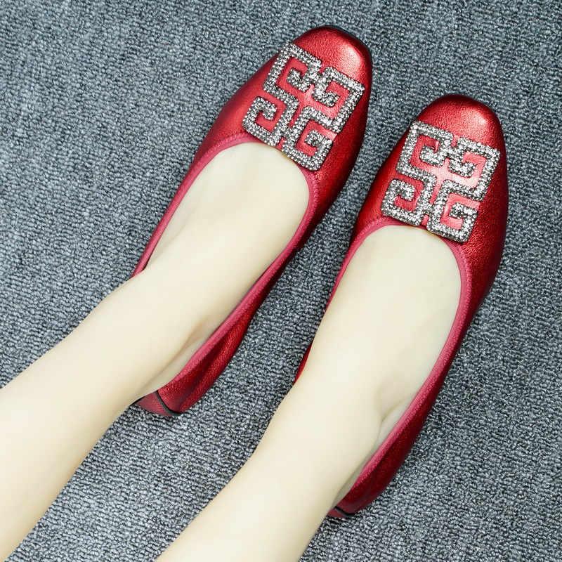 Kim Cương Giả Nữ Balo Chính Hãng Balo Da Đế Bằng Nữ Mềm Mại Nông Vũ Công Ba Lê Thoải Mái Giày Loafer Người Phụ Nữ