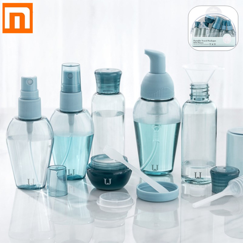 Xiaomi Jordan&Judy Travel Silicone Bottle Set 6Pcs Spray Refillable Bottles Cosmetic Hydrating Small Bottle Set For Travel