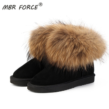 MBR FORCE Top Cow suede leather 100% Natural fox fur women short winter ankle snow boots for woman winter shoes Women Boots