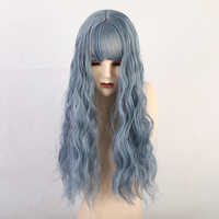 Thin Bangs Long Gray Blue Natural Curly Synthetic Wigs Fashion Cosplay Wigs Gradient High Temperature Fiber Women Wigs