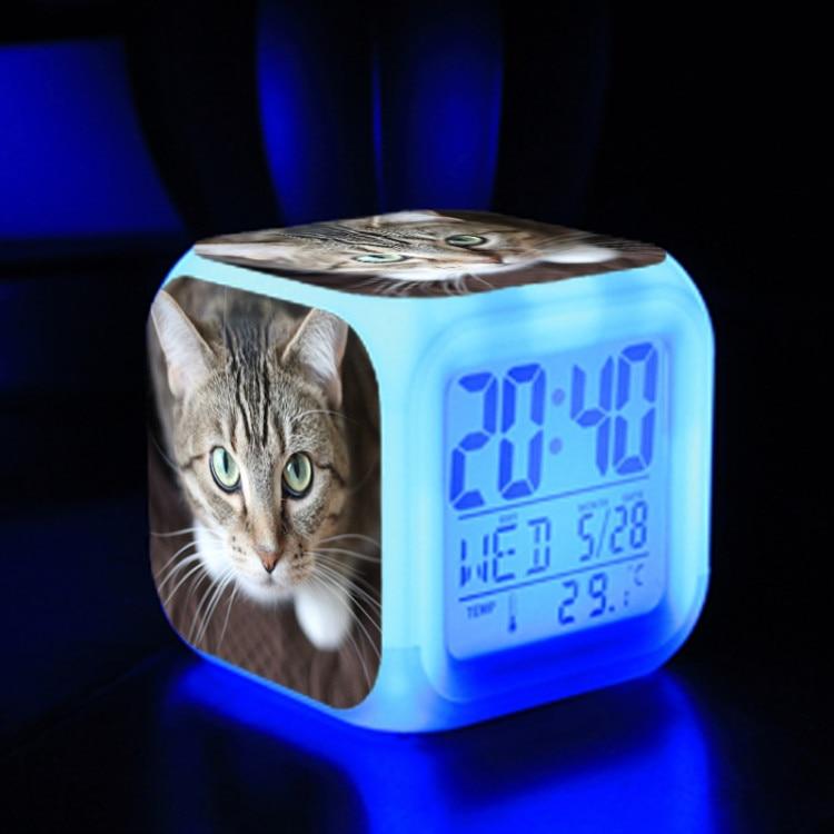 Alarm Clock Cat Dog Bedside Glowing Led