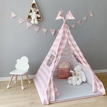 Игровая палатка для детей, Вигвама, индийский игровой домик для детей, для девочек, хлопок, типи, палатка, для помещений, для улицы, подарки для девочек, розовая палатка принцессы