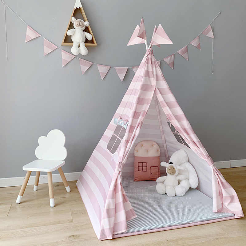 Play Tent For Kids Teepee Indian Play House For Children Girl Cotton Tipi Tent Indoor Outdoor Gifts For Girls Pink Princess Tent Toy Tents Aliexpress