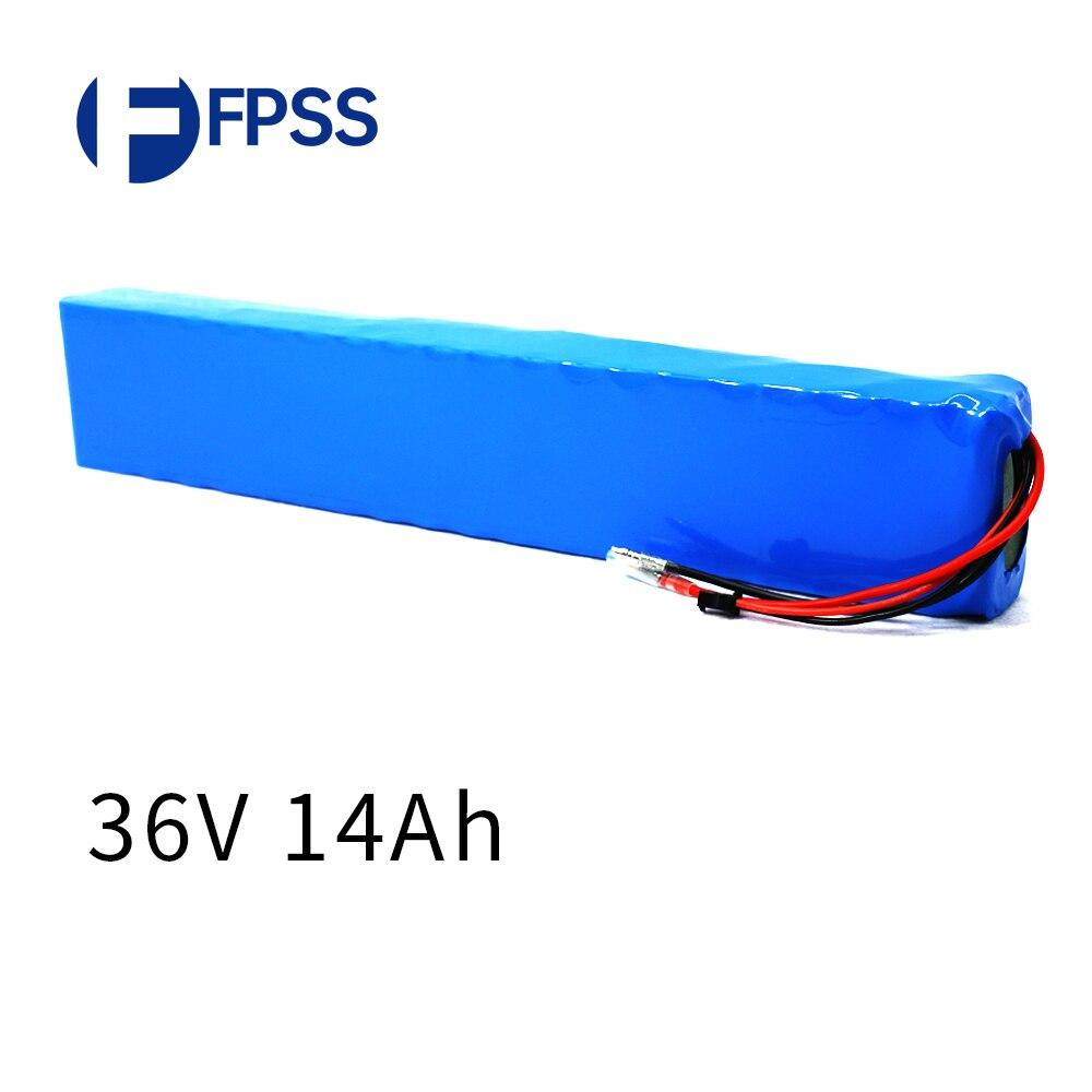 Fpss 10s4p 36v 14ah 750watt 18650 bateria de lítio para carro elétrico bicicleta scooter sm2p 4mm bala conector 25a bms