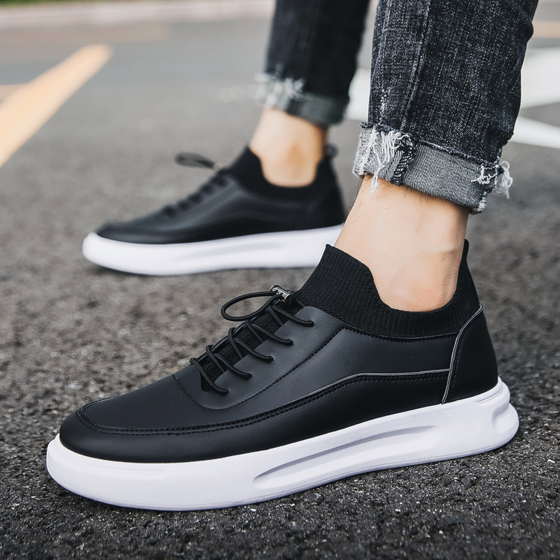 Men Leather Casual Shoes Leather Sneaker Fashion Breathable Sneakers Ultralight Outdoor Sports Jogging Shoes zapatos de hombre in Men 39 s Casual Shoes from Shoes