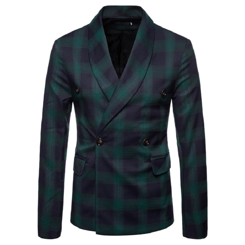 Mens Suits Blazers 2020 New Spring And Autumn Men's Slimming Style Plaid Casual Green Collar Single-button Men's Suit