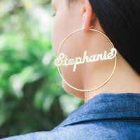 1 paire or Rose personnalisé nom boucles d'oreilles pour les femmes personnalisé en acier inoxydable plaque signalétique cerceau boucles d'oreilles mode bijoux Brincos 2018