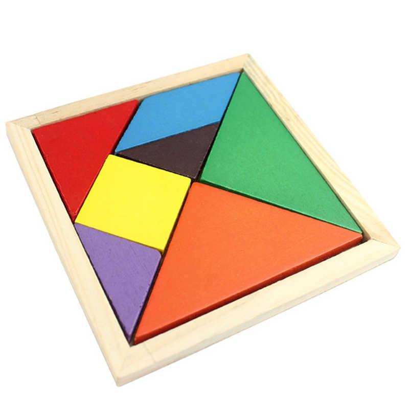 ثلاثية الأبعاد خشبية تانجرام 7 قطعة بازل قطع الذكاء الملونة لعبة الدماغ دعابة ذكي ألعاب تعليمية للأطفال ألعاب للأولاد N26