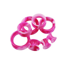 2Pcs Pink Silicone Flexible Plugs and Tunnels ear Tunnel Plugs Double Flared Hollow Gauges  Piercing Flesh Tunnel Body Jewelry
