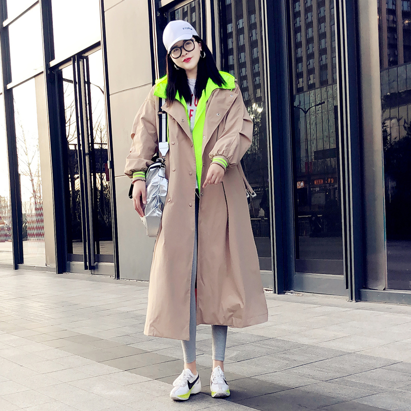 2020 Spring Autumn New Hooded Trench Coat Women Korean Streetwear Black Long Coat Loose Ladies Overcoat Windbreaker Tide D3450