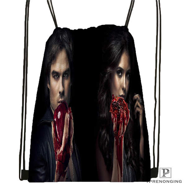 Custom The_vampire_diaries_  Drawstring Backpack Bag Cute Daypack Kids Satchel (Black Back) 31x40cm#2018611-2(22)