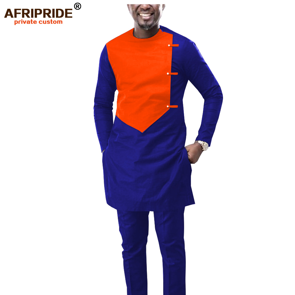2019 African Men Outfit Dashiki Clothing Coats Jacket And Ankara Pants 2 Piece Set Wear Clothes Attire Wax AFRIPRIDE A1916039