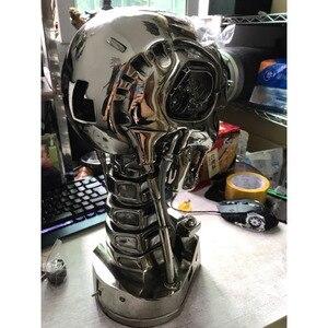 Image 5 - COOL! 1:1 Scale Terminator 39ซม.T 800กะโหลกศีรษะชิปElectroplateเรซินEditionมือชุดตกแต่งบทความ