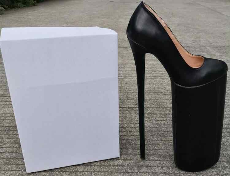Drop Shipping büyük boy 47 seksi kadın siyah kayma 30 cm Stiletto topuklar platformu yuvarlak ayak el yapımı gece kulübü dans balo pompaları