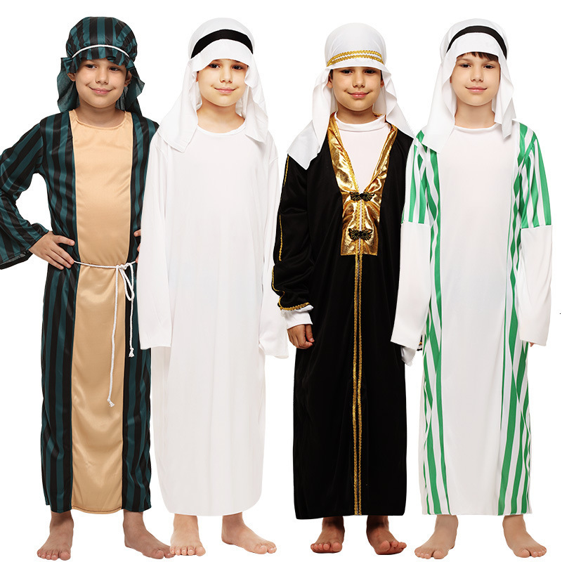 Halloween Costume New Year's Eve Carnival Dress Arab Dress Keffiyeh Mantle Chief Tribe Kid's Costume White Party