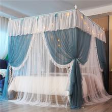 Luksusowa dwupokładowa romantyczna koronka w stylu księżniczki stojąca moskitiera nadaje się do 1 2m 1 5m 1 8m 2m sypialnia dekoracja tanie tanio Fat Fairy HOME TEXTILE Trzy-drzwi Uniwersalny Czworoboczny Domu Dorosłych Pałac moskitiera Składane STAINLESS STEEL