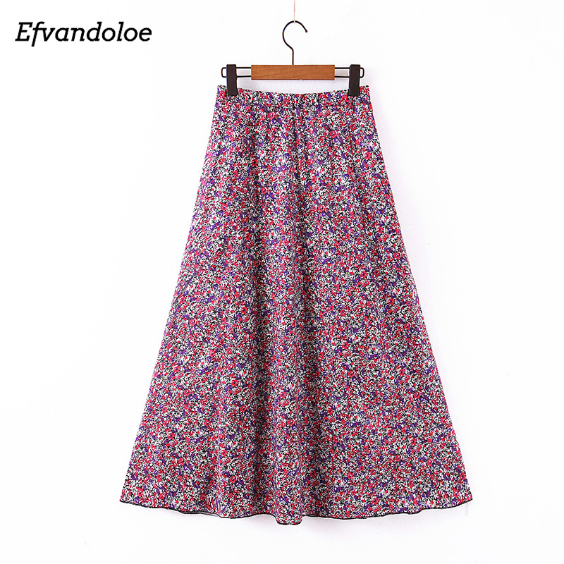Efvandoloe Chic Floral Skirts Women High Waist A Line Long Skirt 2020 Summer Jupe Saias