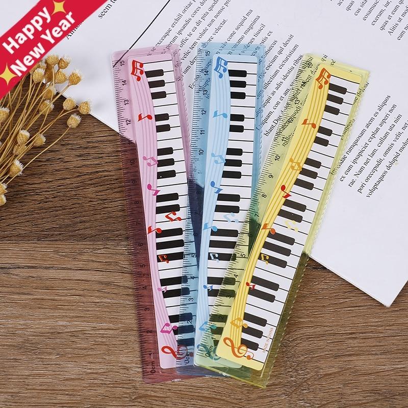 Creative 15cm Cute 1pc Cartoon Piano Musical Note Ruler Bookmarks School Student Ruler Gift Ruler Color Random