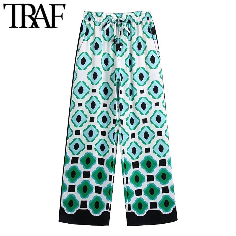 TRAF женские шикарные куртка с модным геометрическим принтом, брюки с широкими штанинами, винтажный стиль, высокая талия, с завязкой на талии, ...