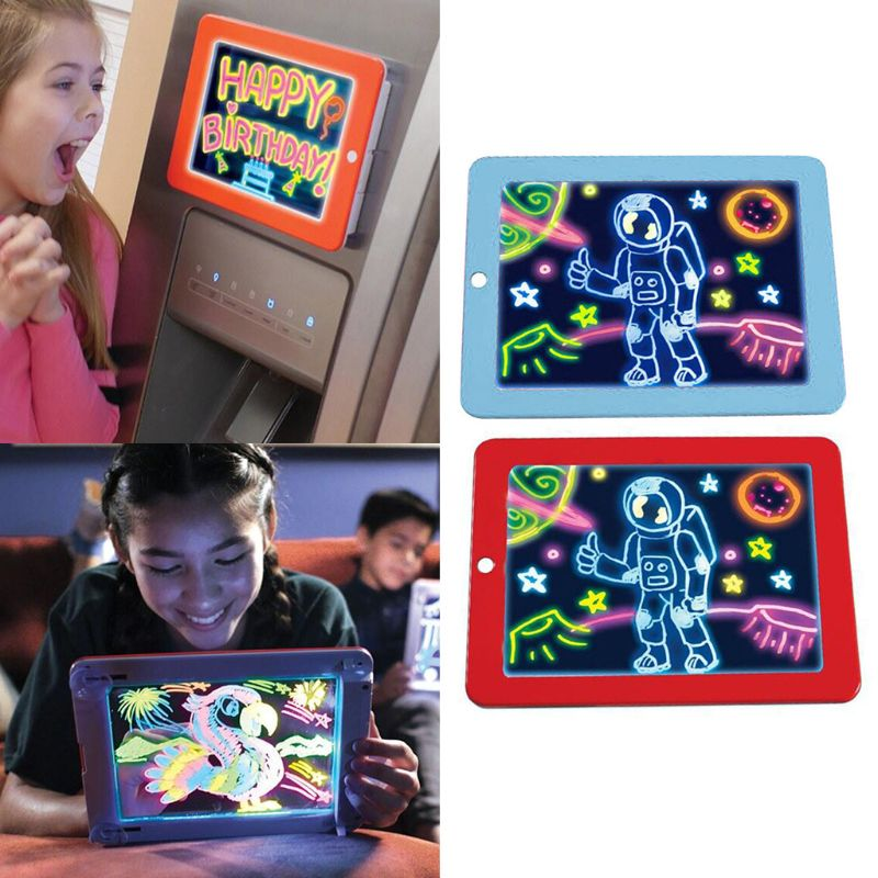 3D Magic Drawing Pad LED Light Luminous Board Intellectual Developmen Kids Educational Toys For Children Painting Learning Tools