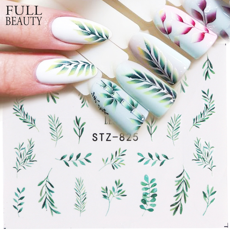 1pcs Water Nail Decal And Sticker Flower Leaf Tree Green Simple Summer Slider For Manicure Nail Art Watermark Tips CHSTZ824-844