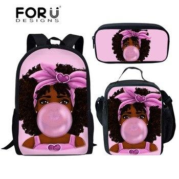 FORUDESIGNS Girls School Bags African Black Girls Hairstyle School Backpack Set Scool Bag For Girl Kids Girl Backpack Junior Bag 23