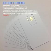 بطاقة SIM من OYEITIMES مزودة ببرنامج 4G LTE وبطاقة USIM وبطاقة USIM 128k LTE قابلة للبرمجة وبطاقة USIM ICCID IMSL ADM KI OPC OP مع COMP128/Milemage