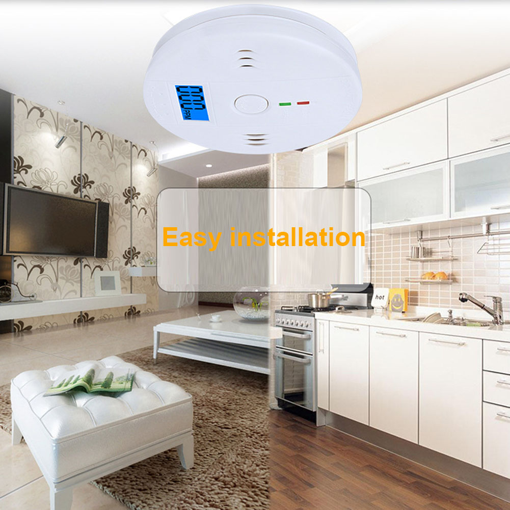 LCD CO Carbon Monoxide Smoke Detector Alarm Poisoning Gas Warning Sensor Monitor Device AS99