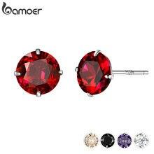 Bamoer, 5 цветов, серьги с цирконием кубической огранки для женщин, 925 пробы, серебряные, свадебные, Обручальные, ювелирные изделия, Brincos BSE166