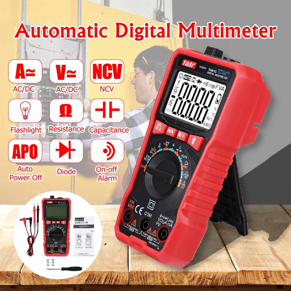TA801C Digital Multimeter Max 9999 counts Auto Ranging AC/DC voltage meter Flash light Back light Large Screen|Multimeters| |  - title=
