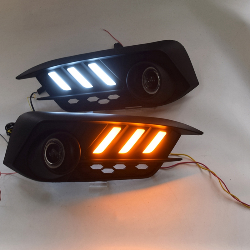 COB ангельские глазки светодиодные дневные ходовые огни DRL противотуманная фара с проектором объектив указатель поворота для Honda Civic 10Th 2016