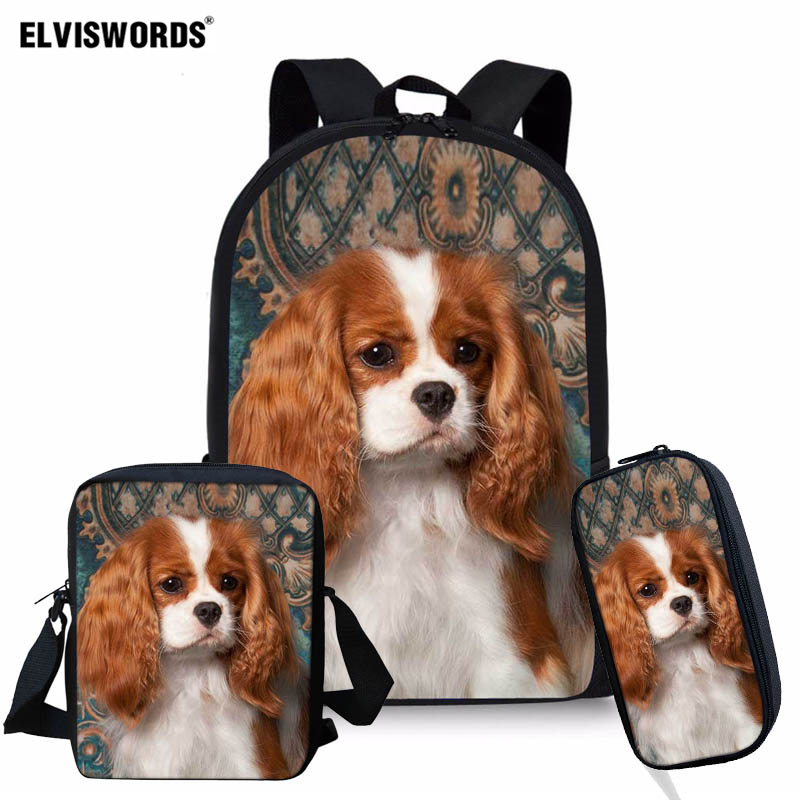 ELVISWORDS Cavalier King Charles Spaniel Design School Bag Set For Teenage Girls Kids 3pcs School Backpacks Children Travel Bag