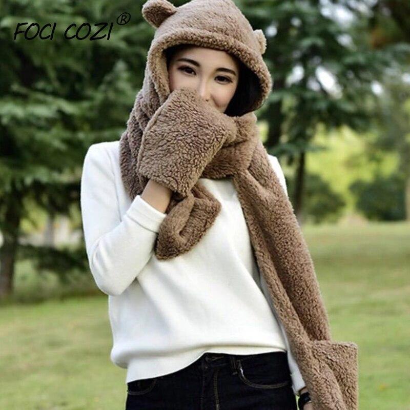 Ladies Girls Warm Winter Hats Black/Panda/Coffee 3 In 1 Multifunctional Hat Plush Winter Warm Cap Scarves Gloves Set For Women