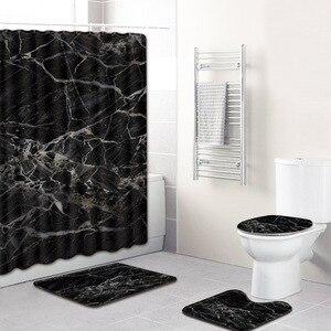 Image 4 - 4Pcs/set Marble Pattern Waterproof Shower Curtain Polyester Pedestal Rug Lid Toilet Cover Bath Mat Set