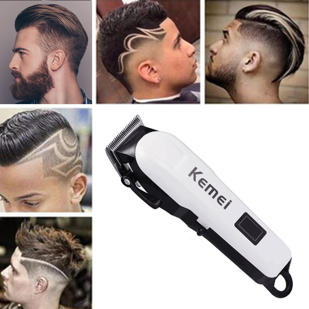 Kemei KM-809A Professional Rechargeable Electric Haircut Machine LCD Display Hair Clipper Tool